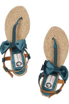 Lanvin|Satin bow flat espadrille sandals|NET-A-PORTER.COM