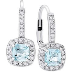 Blue Topaz (1-1/5 ct. t.w.) and Diamond Accent Drop Earrings in... ($36) ❤ liked on Polyvore featuring jewelry, earrings, silver, cushion cut blue topaz earrings, diamond accent earrings, sterling silver earrings, blue topaz drop earrings and sterling silver blue topaz earrings