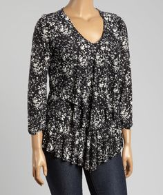 Look at this Black Splatter Tiered V-Neck Top - Plus on #zulily today!