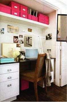 Before and after home office makeover. Learn how to effectively use a spare surface, a sleek cabinet, empty wall space and storage space to make the most of your home office. For more home office makeover ideas go to Domino. Closet Turned Office, Home Office Closet, Closet Desk, Office Nook, Home Office Organization, Closet Doors, Converted Closet, Hall Closet, Room Closet