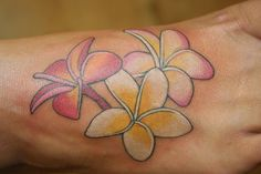 Plumeria flower tattoo, love the colors