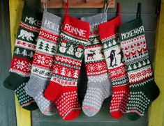 Family Knit Christmas Stockings or Personalized Wool Red Green Gray White Gnomes Deer Snowflakes Snowman Bear Santa Angel Horse Knitted Christmas Stocking Patterns, Knitted Christmas Stockings, Christmas Knitting, Xmas Stockings, Fair Isle Knitting, Knitting Socks, Hand Knitting, Knitting Patterns, Knit Socks