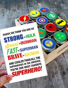 Father's Day Superhero Gift with Free Printable Superhero Father's Day Gift Idea with Free Printable!Superhero Father's Day Gift Idea with Free Printable! Diy Father's Day Gifts Easy, Homemade Fathers Day Gifts, Fathers Day Presents, Father's Day Diy, Fathers Day Crafts, Gifts For Dad, Toddler Fathers Day Gifts, Grandma Gifts, Easy Diy