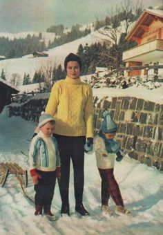Princess Grace with her kids Albert (4) and Caroline (5) during vacation in Gstaad, Switzerland Feb. 1962 | The House of Beccaria#