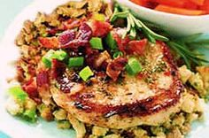 Sweet & Savory Pork Chops Over Stuffing recipe. Made this 1/6/15 - AMAZING!!!  And so easy!