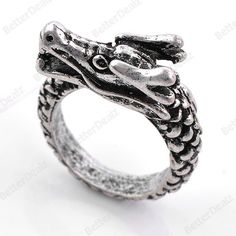 1PC Vintage Antique Silver Dragon Heavy Finger Ring Punk Gothic Cool US 7.5