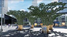 Toulouse vient d'installer une première canopée urbaine. Une armature qui se transformera petit à petit en couvert végétal formant un parasol géant là où rien ne pousse