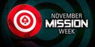 PokerStars vous invite à la November Mission Week. Quatre missions vous sont proposées, mais vous ne pouvez en choisir qu'une, alors faites le bon choix.  http://www.kalipoker-fr.com/bonus-et-promotions/pokerstars-november-mission-week.html