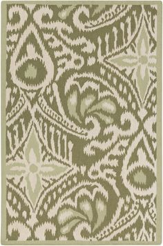A Marseille Collection rug from designer @Kate Mazur Spain has a tonal global style pattern in aloe and olive green. By Surya. (MRS-2007)