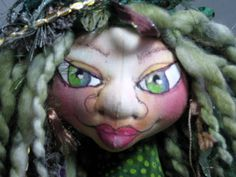 Green  Fairy Art Doll Bust  Sprite Fae Fantasy by JDFantasyDolls