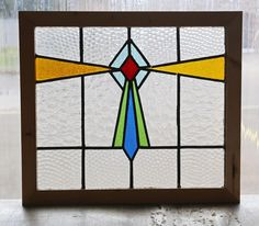 Antique Stained Glass Window Five color Art Deco                          (2774)