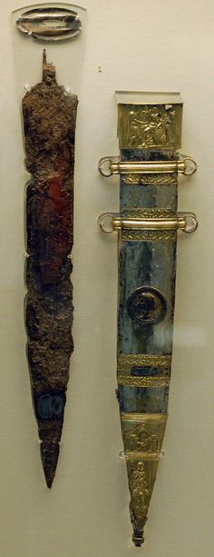 Roman Military           The most famous Mainz type example was found in Mainz (nomen est omen)  in the River Rhine, and is now in the British Museum, London: The so called Sword of Tiberius. Highly decorated and thus likely for an office.