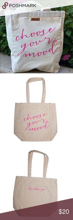 "Choose Your Mood Canvas Tote Bag- Pink Carry a good mood with you everyday with our new canvas tote. Made of durable natural cotton canvas, perfect for toting groceries, books, laptop, beach necessities & more! 100% cotton canvas, side gussets, 22"" handles, size 10.5""x14""x5"" Lifetherapy Bags Shoulder Bags"