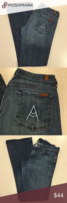 7 For All Mankind Jeans 31X33 A Pocket In NYD! 7 for all mankind jeans A pocket flare New York dark with famous powder blue A's! Size 31 (hard to find) 33 inch long unaltered inseam Beautiful vibrant medium wash Perfect preowned condition, no flaws Retailed for $198.00 