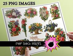 Victorian Diecut Baskets and Bouquet Images - 25 Fancy Diecut Flower Images - Digital Graphics - Victorian Flowers - Immediate Download