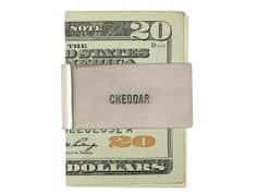 I've been telling you for years to start using money clips. This one is cheeky and refined.  Jack Spade Cheddar Money Clip. $68. jackspade.com