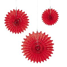 $11 for a dozen in 3 sizes Red Tissue Hanging Fans - OrientalTrading.com