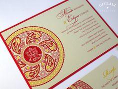 Indian Wedding Invitation - Paisley Henna Medallion Layered Wedding Invitations - Ivory, Red & Gold or any colors - Indian Ganesha Moroccan Print, Memorial Cards, Indian Wedding Invitations, Chapel Wedding, Wedding Website, Red Gold, Henna, Paisley, Destination Wedding