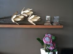 lounge feature wall decor. these beautiful driftwood proteas are made by Tash from  The woodshack. Design by @Nicky Day.net Wall Decor, Floating Shelves, Beautiful Homes, Home Decor, Stoop, Feature Wall, Lounge