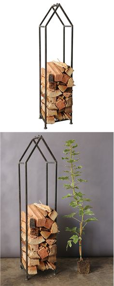 It's the perfect way to frame your home firewood. This metal holder is uniquely shaped like a vertically stretched A-frame house,… Firewood Holder, Firewood Storage, A Frame House, Desert Homes, Rustic Cottage, Metal Homes, Home And Living, Decoration, Family Room