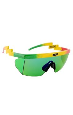 ef020100d2 Neff Vision Brodie Rasta Sunglasses Wrap Around Shield Plastic Frame Lens  400 UV
