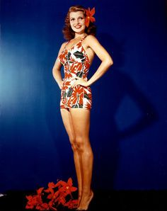 Rita Hayworth...love this swimsuit..and she was my relative as well...great, great aunt. :)