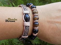 Set of onyx and copper two braceletsMen copper onyx