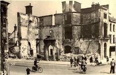 Groningen<br />De Tweede Wereldoorlog in de stad Groningen: Verwoest pand van de fa. Geertsema op de hoek van de Oude Ebbingestraat en de Turfsingel