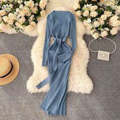 Ulzzang Fashion, Korean Fashion, Women's Flares, Korean Dress, European Fashion, Cheap Dresses, Knit Dress, Fashion Beauty, Fashion Dresses