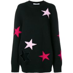 Givenchy stars embroidered sweater ($1,460) ❤ liked on Polyvore featuring tops, sweaters, black, fitted sweater, round neck sweater, extra long sleeve sweater, fitted tops and urban sweaters