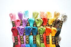 Bright DMC color palette via Wild Olive Cross Stitch Floss, Cross Stitch Art, Cross Stitching, Cross Stitch Embroidery, Cross Stitch Patterns, Stitching Patterns, Ribbon Embroidery Tutorial, Hand Embroidery Art, Dmc Embroidery Floss