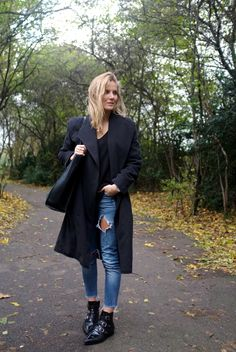 Black and denim and booties.