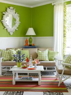 Love this green - so vibrant, vivid, want this for my family/sun room.