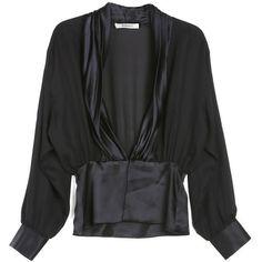 Rodarte Satin Draped Blouse ($449) ❤ liked on Polyvore featuring tops, blouses, shirts, rodarte shirt, satin shirt, drapey shirt, drapey top and drape shirt