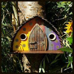 TECHNICOLOR dromen vogel huis/birdhouse / handgemaakte/tuin kunst /bird huizen /birdhouses