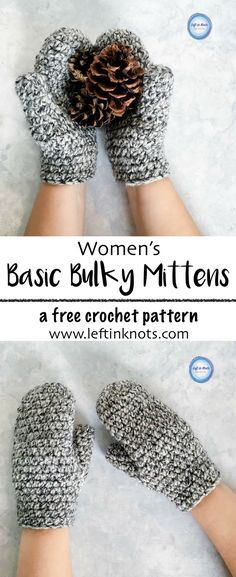 This fast and modern crochet pattern will show you how to crochet Women's Basic Bulky Mittens.  This modern, free crochet pattern is beginner friendly, and these mittens make a great project for yourself, gifts or as a charity donation.  All you need is some bulky acrylic yarn and a 6.0mm crochet hook! #freecrochetpattern #crochetmittens #crochet