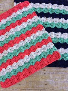 Crochet blanket set for boy and girl twin babies  This gorgeous set includes one coral, mint and white stripe chunky crochet blanket for a baby girl, and one navy, mint and white blanket for twin brother  What a lovely way to welcome two precious new lives into your life! New baby photo sessions will be cherished with brother and sister all wrapped up in snuggly, cheerful new blankets!  Each blanket is stitched up with cuddly soft premium acrylic yarn and measures approximately 26 x 31…