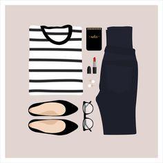 Flat Lay Illustration Striped Shirt Jeans & by StyledInPrint