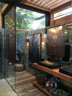 Outdoor Bathrooms, Dream Bathrooms, Beautiful Bathrooms, Master Bathrooms, Rustic Bathrooms, Coolest Bathrooms, Cottage Bathrooms, Rustic Bathroom Designs, White Bathrooms