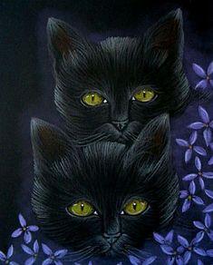 """Black Cats Behind the Lilac Flowers"" par Cyra R. Cancel"