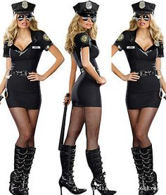 Sexy Women Police Cop Officer Costume Fancy Dress Halloween Party Cosplay