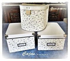 Hoy unas bonitas cajas forradas con papel pintado, fácil y una manera de darle nueva vida a lo antiguo y reciclar.