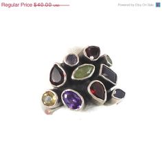 ON SALE Gemstone Sterling Silver Ring  Amethyst by InVintageHeaven, $36.00