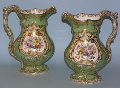 Pair Fine Antique English Staffordshire Minton Hand Painted Porcelain Ewers | eBay Antique China, Antique Glass, Old Pottery, English Pottery, Hand Painted, Vase, Ceramics, Antiques, Punch