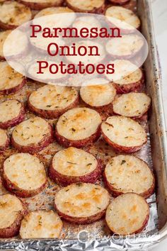 Onion Parmesan Roasted Potatoes - Easy and way too delicious.  The perfect side dish to your comfort meal.