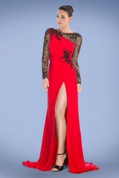 eyecatching-long-sleeve-prom-dress-featuring-high-split-and-graceful-applique