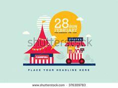 Carnival theme template design invitation/ Amusement park elements poster design/ Fun fair icons/ Popcorn cart and carnival tent/…
