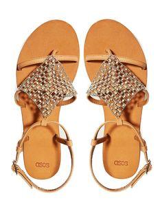 ASOS   ASOS FLOOD LIGHT Leather Flat Sandals at ASOS