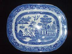 Ridgway English Blue Willow 15.5 inch Platter Antique
