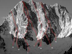 Grandes Jorasses, north face... Chamonix Mont Blanc, Ice Climbing, Mountaineering, Mount Everest, The North Face, Around The Worlds, Travel, Granite, Graham